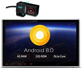 XTRONS 10.1 Inch Android 8.0 Octa Core 4G RAM 32G ROM HD Digital Multi-Touch Screen Car Stereo GPS Radio DVD Player Adjustable Viewing Angles OBD2 TPMS WiFi with DVR