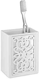 """DWELLZA Mirror Janette Bathroom Toothbrush Holder (3.4"""" x 2.2"""" x 4.33"""") - Family Brush Toothpaste Cup- Holds Multiple Stan..."""