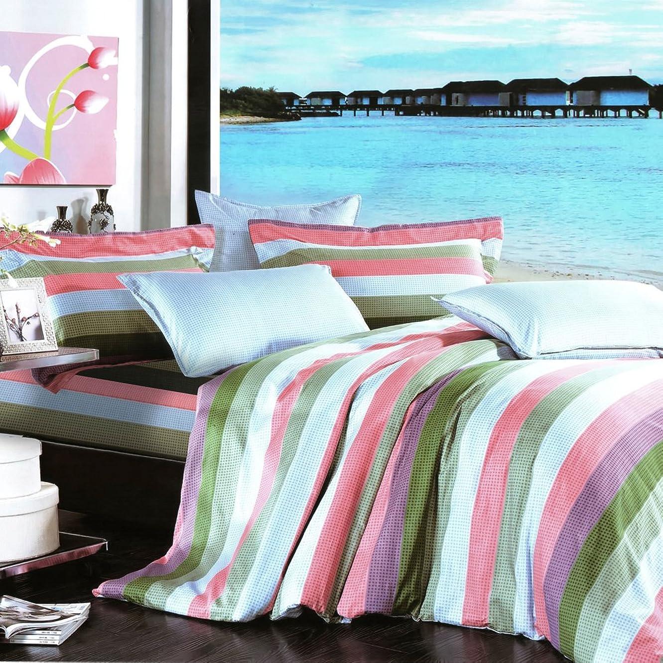 サイレント魅力的フィールドBlancho Bedding - [海岸ライン] 綿100%掛け布団カバーセット 4点セット(クイーンサイズ(US))