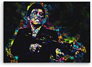 Scarface Art on Canvas. Tony Montana at his Best. Brush Strokes Art Design. Framed on 1.5in Think Gallery Stretcher Bars. #C110 Large 20in X 30in Size