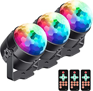 Neewer 3-Pack Stage Light Sound Activated Party Lights with Remote Control, Dj Lighting, RBG Disco Ball, 7 Modes Strobe Lamp for Home Room Dance Parties Birthday DJ Bar Karaoke Xmas Wedding Show Club