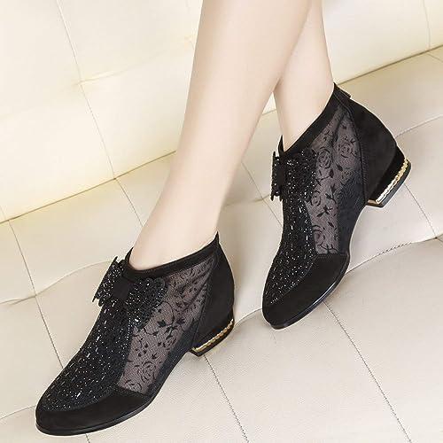 ZHRUI botas Negras, Botines con tacón bajo, a la Moda, ovejas, Transpirables, Frescas y botas Desnudas (Color   negro, tamaño   EU 40)