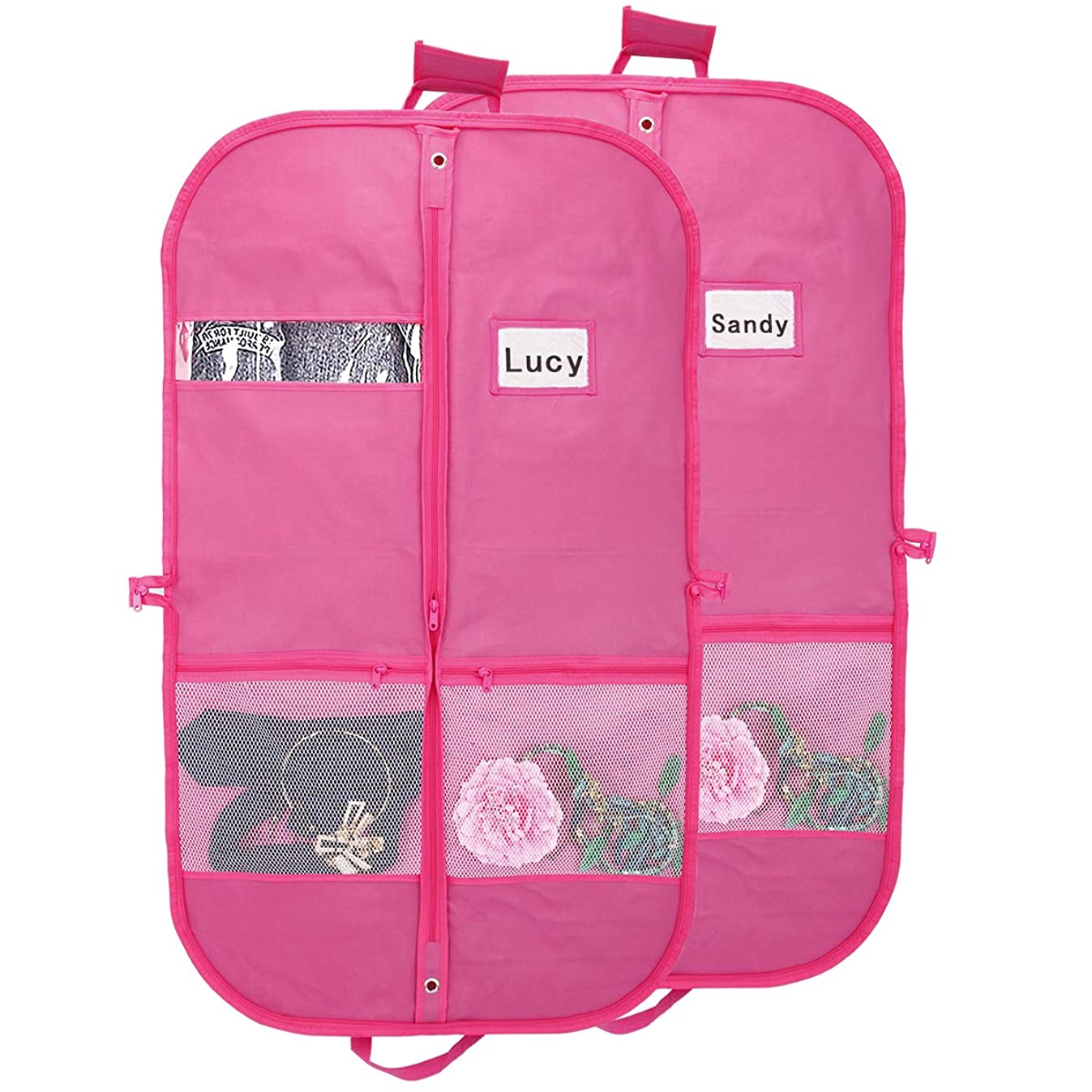 Kernorv Pink Garment Bags for Dance Costumes Waterproof and Breathble 40