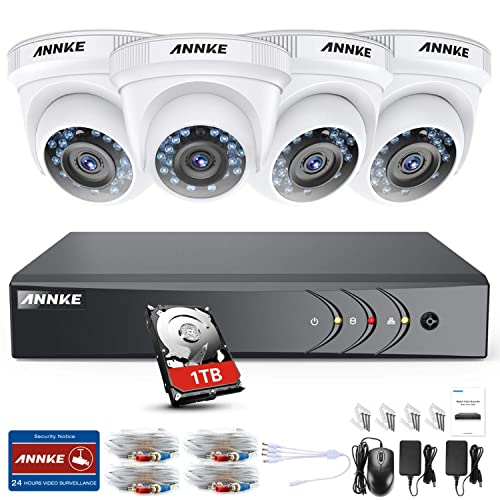 ANNKE Kit Sistema de Seguridad CCTV Cámara de vigilancia Luz de estrella 4CH 3MP H.264+ DVR con 4 Cámaras 1080P IP66 Impermeable Visión nocturna No-Ruido Alerta por correo electrónico con instantáneas