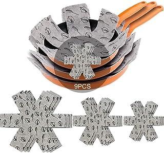 Meiso Lot de 9 protège-poêles en feutre rembourré pour séparer et protéger les surfaces de vos ustensiles de cuisine et év...