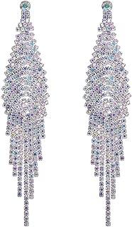 Long Chandelier Tassel Dangle Earrings Women Party Wedding Jewelry Sparkling Clear Austrian Crystal Rhinestone Dangling Silver Plated Earrings