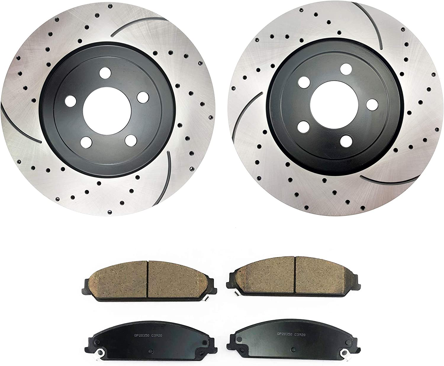 Atmansta QPD10036 Front Brake kit Drilled with Inexpensive an Rotors excellence Slotted