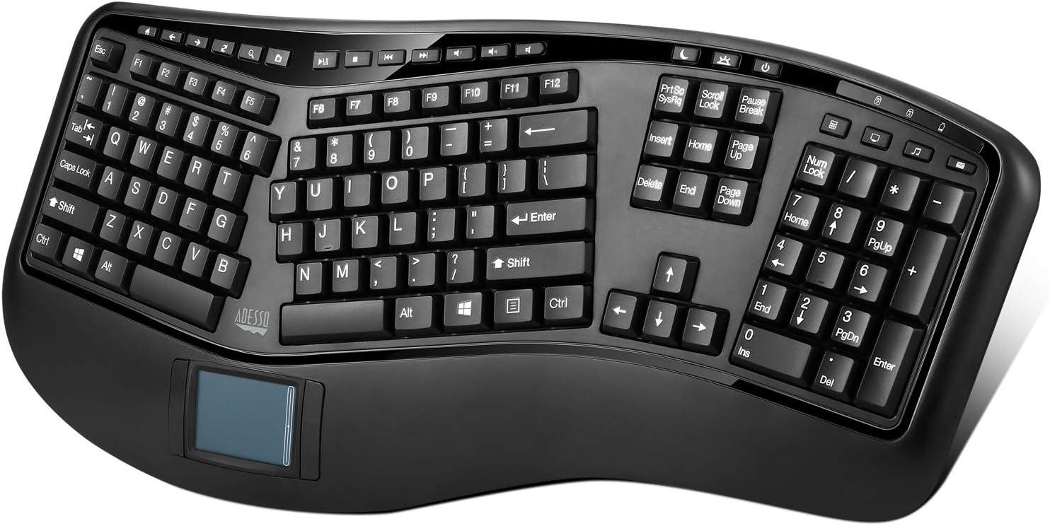 Adesso 2.4ghz Wireless Tru-Form Media 3D Ergonomic Touchpad Keyboard with Sp