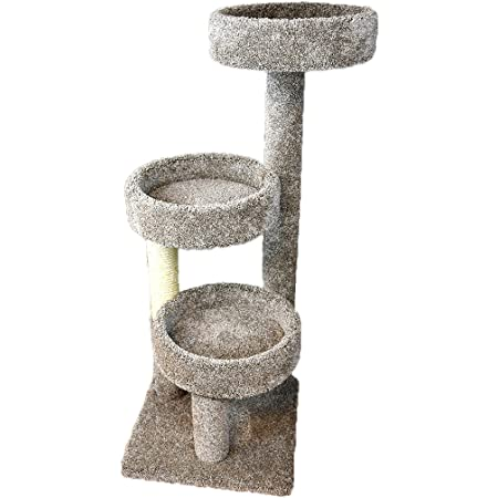 New Cat Condos Carpeted Solid Wood Cat Tree Tower Neutral Pet Supplies