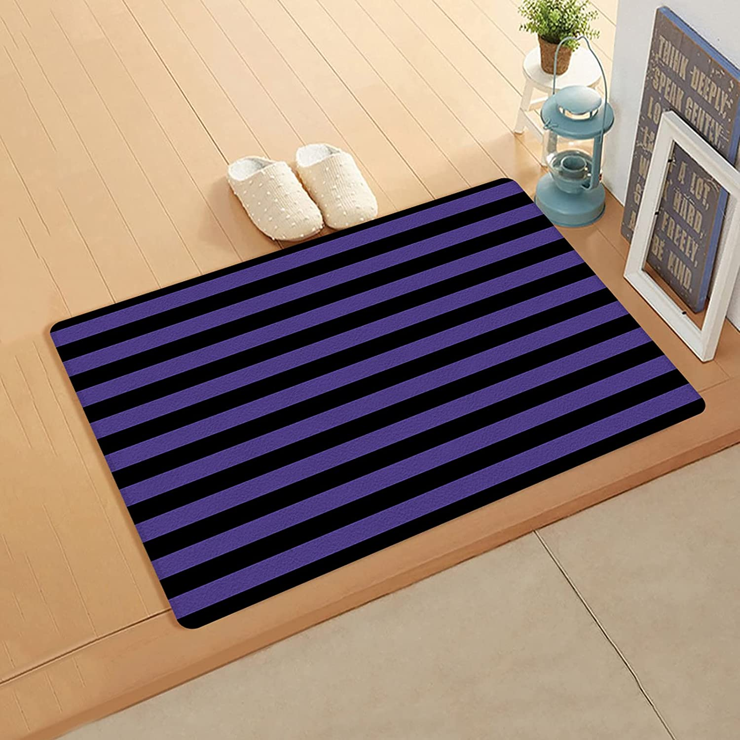 CyCoShower Doormats Super Soft Leather Bla Max 73% OFF Free Shipping Cheap Bargain Gift Rugs Halloween Purple