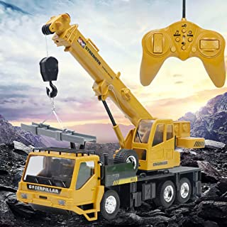 Toysgift 8 CH Remote Control Crane RC Truck Crawler Tower Crane Hoist Dragline Die-cast Model Lifiting Cable Excavator Tractor Digging Engineering Toy Construction Vehicle Toy for Kids