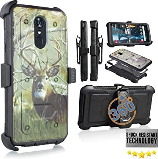 Compatible for LG Stylo 4/ LG Stylus 4/ LG Q Stylo 4 (Q710) 2018 Release Full Body Armor Rugged Holster Defender Hybrid Camo Case with 360 Belt Clip & Built in Screen Protector (Big Buck CAMO)