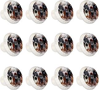 Boutons D'armoire 12 Pcs Poignés Poignée De Champignons Porte Poignées avec Vis pour Cabinet Tiroir Cuisine,Famille de chat