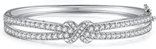 Silver Love Knot White Cubic Zirconia Silver Bangle Bracelets for Women 7.25''