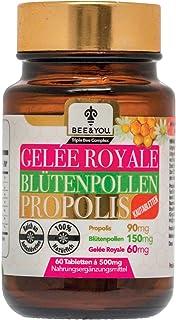 Bee&You Gelee Royale Blütenpollen Propolis mit 500 mg Tabletten Kautabletten - Propolis Extrakt - 60 Tabletten - Keine Zusatzstoffe - Fairer Handel - Natürliche & kontrollierte Zutaten