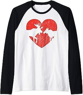Love Moose Valentine's Gift Cute Heart Silhouette Raglan Baseball Tee
