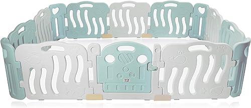 Baby Vivo Laufgitter Laufstall Baby Absperrgitter Krabbelgitter Schutzgitter für Kinder aus Kunststoff mit Tür und Spielzeug 14 Elemente in Türkis Weiß - Bailey