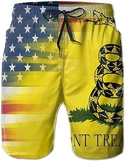 JALYOPEN Gadsden Flag Men Beach Pants 3D Printed Fashion Polyester Adjustable Beach Board Shorts 31