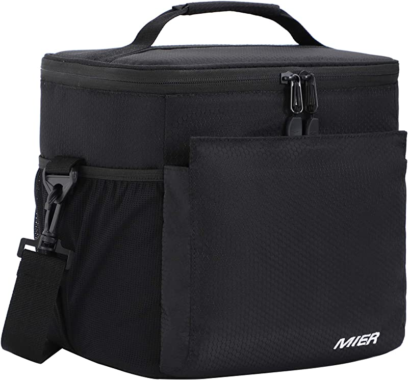 MIER Insulated Lunch Bag Men And Women Soft Cooler Lunch Box Tote With Shoulder Strap Leakproof Liner 24 Can Pure Black