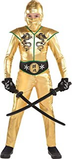 Gold Fighter Ninja Costume for Boys, Includes a Jumpsuit, a Hood, a Face Scarf, and a Belt