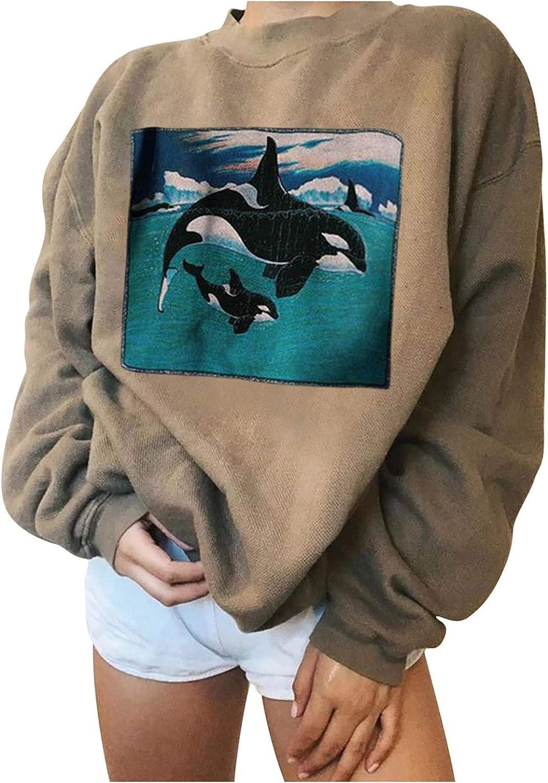 Womens Crewneck Sweatshirt Long Sleeve Raglan Print Casual Cool Pullover Top