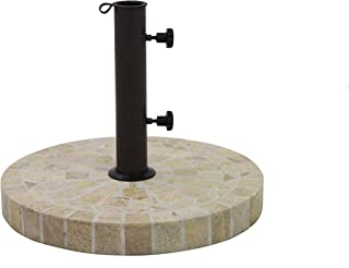 Outdoor Interiors Marble Mosaic Umbrella Base With Concrete Core, Brown