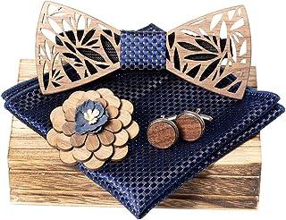 کراوات چوبی مردانه کلاسیک Amzchoice با ست جیب دار و ست دکمه سر دست مردانه