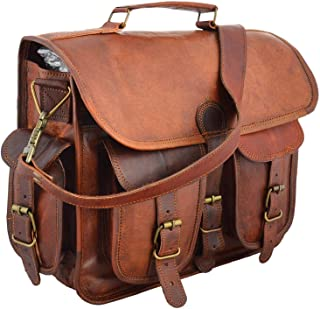 """15"""" leather messenger bag laptop case office briefcase gift for men computer distressed shoulder bag"""