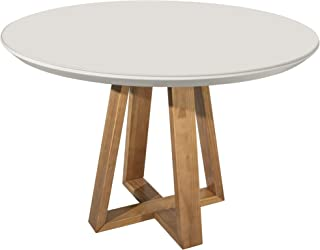 Manhattan Comfort 1018500 Duffy Modern Round Dining Table with 4MM Non-Removable Glass, 45.27