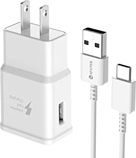 Spater Adaptive Fast Charging Wall Charger Kit Set with USB-C Cable, Compatible with Samsung Galaxy S10/ S8/ S9 + Note8/ Note9 (White)