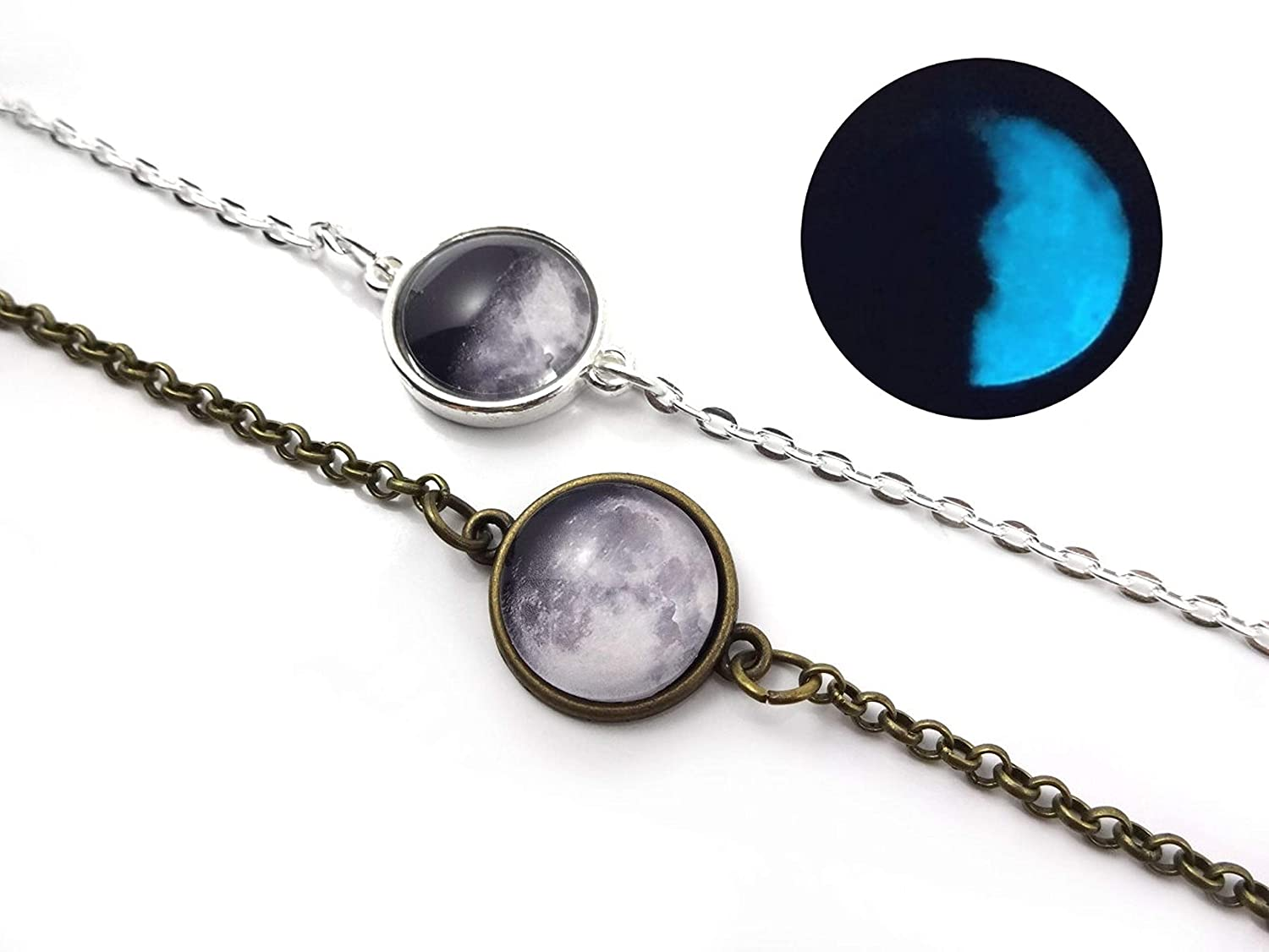 Custom Glow in the Dark Birth specialty shop Moon Silver Bracelet Limited time sale Bronze or