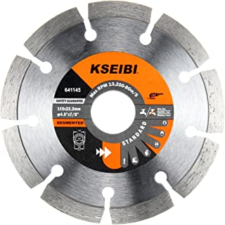 KSEIBI 641145 General Purpose 4 1/2 inch Dry Wet Cutting Grinding Diamond Saw Blade with 7/8 inch Arbor for Concrete Tile Stone Brick Masonry Angle Grinder Accessories