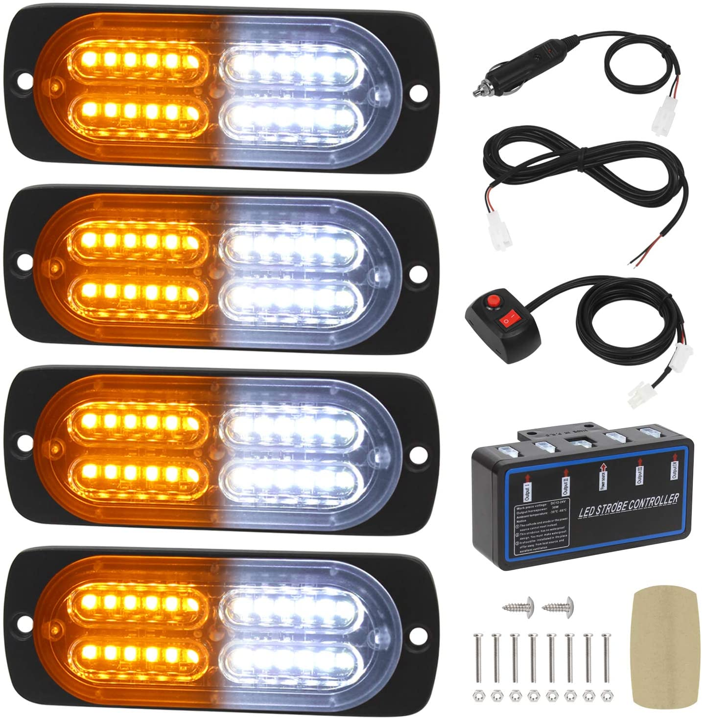 Linkitom 4pcs Ultra Slim Sync Feature 24-LED Car Surface M Truck Genuine Spring new work