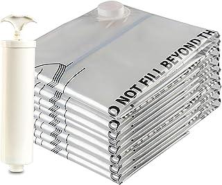 Eono Essentials - Lot de 8Sacs de Compression de Haute qualité avec Pompe Manuelle, pour Emballage sous Vide, 8Sacs Form...