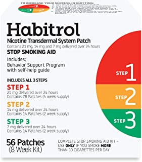 Habitrol Nicotine Transdermal System Patch | Stop Smoking Aid | Steps 1, 2, and 3 (21, 14, and 7 mg) | 56 Patches (8 Week ...