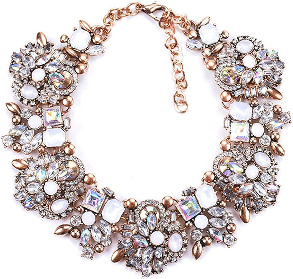 Bib Statement Necklace Colorful Glass Crystal Collar Choker Necklace for Women Fashion Accessories