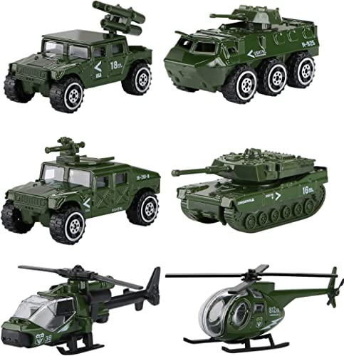 Hautton Diecast Military Toy Vehicles, 6 Pack Alloy Metal Army Toys Model Cars Playset Tank, Jeep, Panzer, Attack Hel...