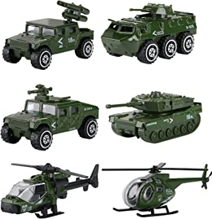 Hautton Diecast Military Toy Vehicles, 6 Pack Alloy Metal Army Toys Model Cars Playset Tank, Jeep, Panzer, Attack Helicopter, Anti-air Vehicle, Scout Helicopter for Kids Boys Toddlers