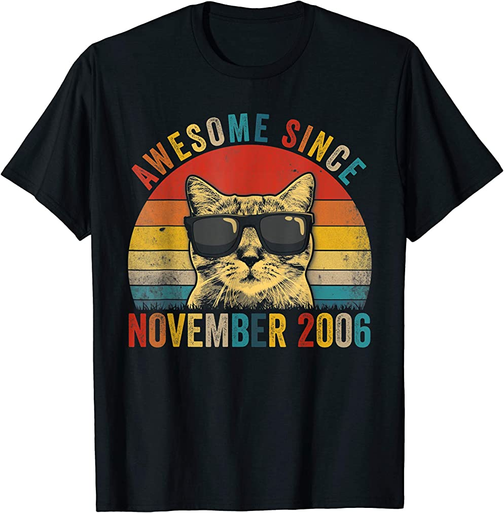 Awesome Since November Cat Lover 2006 13th Birthday Gift T-shirt