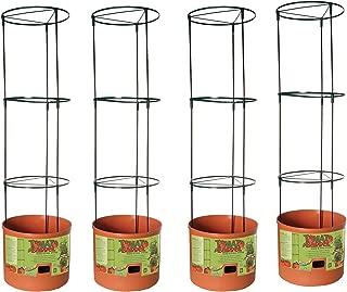 Hydrofarm Tomato Barrel Garden Planting System with 4 Ft Trellis Tower (4 Pack)
