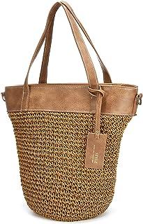 Bolso de playa de paja, bolso de hombro, bolso de verano para mujer, compras (blanco)
