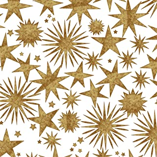 Gold & Copper Stars Christmas Holiday Gift Wrap Paper - 15 Foot Roll