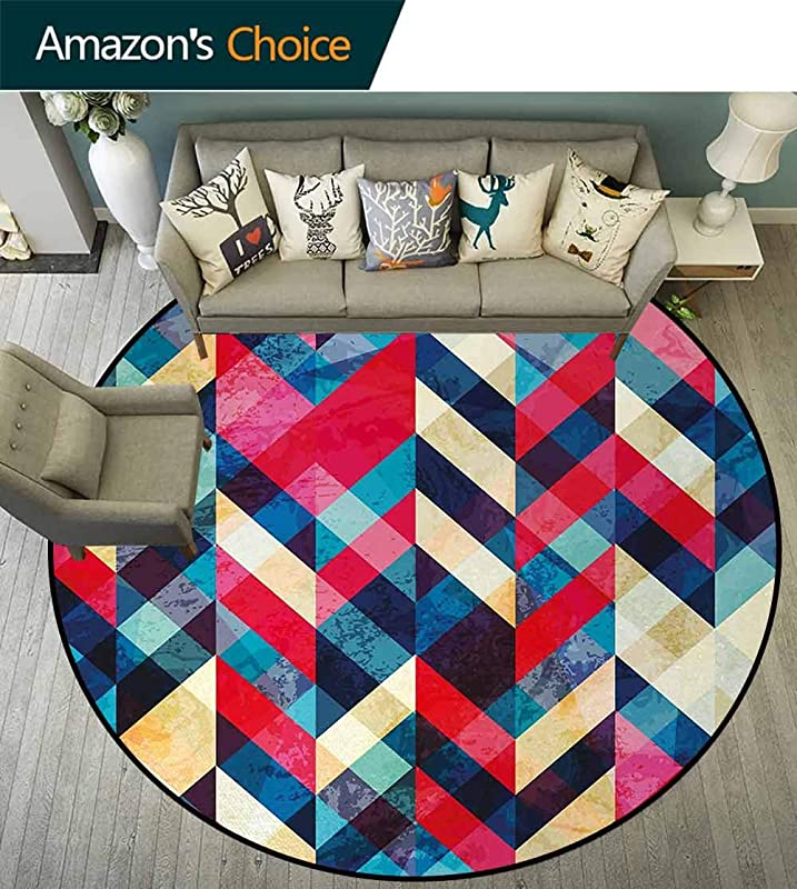 Chevron Modern Machine Washable Round Bath Mat Zigzag Pattern Downward Parallel Lines Hipster Bohemian Style Grunge Illustration Non Slip Soft Floor Mat Home Decor Round 31 Inch Multicolor