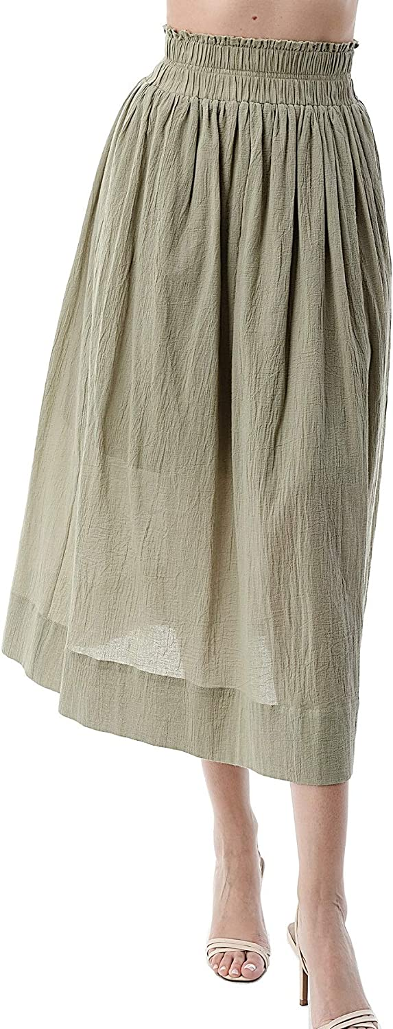 EDGY Land Girl's and Women's High Waist Solid Smocked Flowy Midi Skirts (with Options)