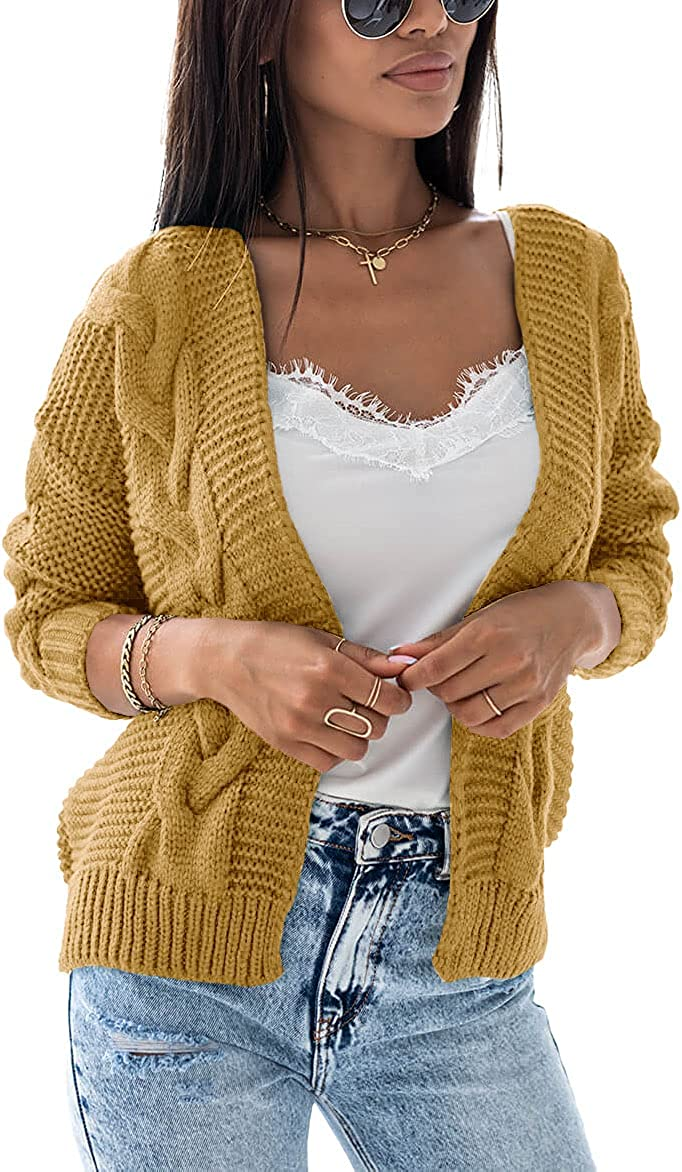 Imily Bela Womens Cable Knit Cropped Cardigans Long Sleeve Open Front Chunky Shrug Sweaters