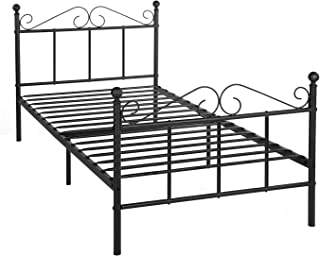 GreenForest Metal Bed Frame Twin Size with Headboard and Footboard Metal Slats Support Platform Mattress Foundation Brown