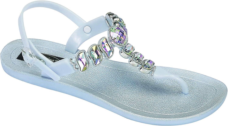 Grandco Women/'s Wave T-Strap Beaded Flip Flop Sandals 28525