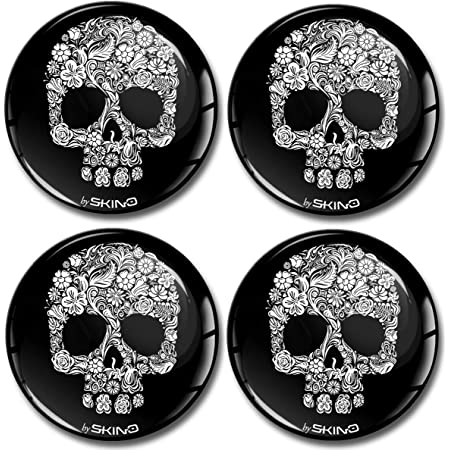 Skino 4 X 60 Mm Rim Skull 3d Gel Silicone Car Decals Stickers Punisher Skull Sticker For Hub Cap Wheel Hub Cap Wheel Cover Wheel Hub Cover Sticker Car Tuning A 80