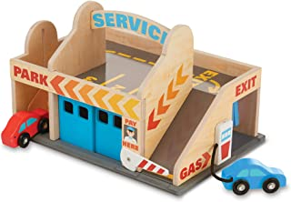 Melissa & Doug Service Station Parking Garage   Wooden Vehicle   Pretend Play   3+   Gift for Boy or Girl