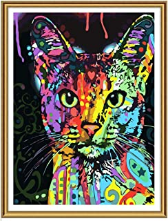 Yomiie 5D Diamond Painting Art Colorful Cat Full Drill by Number Kits for Kids Adults, Kitten Paint with Diamonds Arts Oil DIY Craft Decorations (12x16inch)